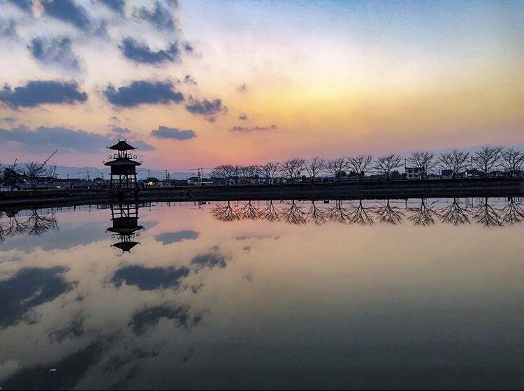 唐古・鍵遺跡の夕焼け